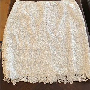 NWOT Liz Claiborne Sz 16 White Eyelet Pencil Skirt